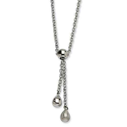 Chisel Stainless Steel Satin and Polished Teardrop Dangles 20 inch Y Necklace