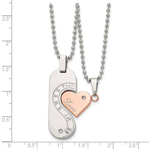 Chisel Stainless Steel Polished and Rose Gold-plated Pendant Set 22 inch Necklace