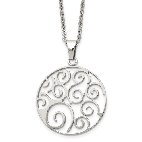 Chisel Stainless Steel Polished Fancy Swirl Pendant 22 inch Necklace