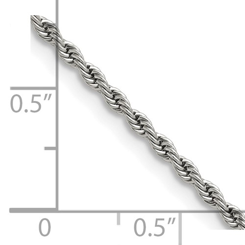 Chisel Stainless Steel 2.3mm 20 inch Rope Chain