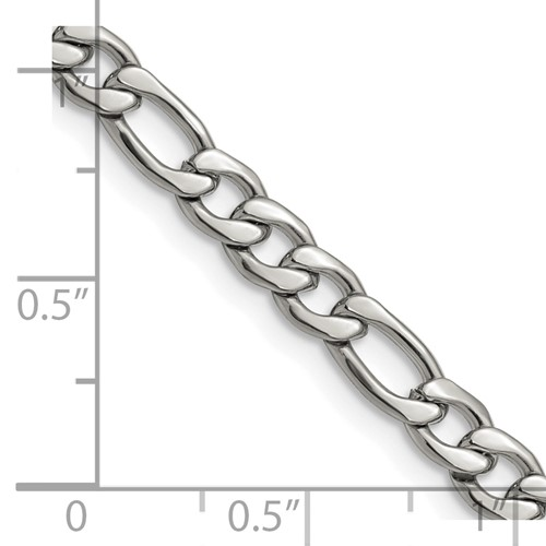 Chisel Stainless Steel 6.30mm 24 inch Figaro Chain