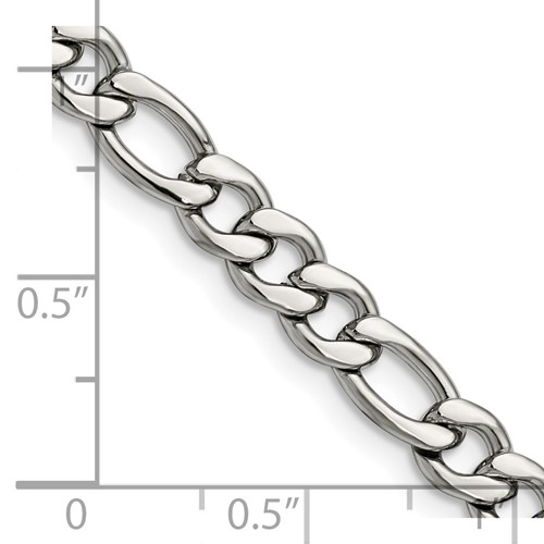 Chisel Stainless Steel 7.30mm 22 inch Figaro Chain