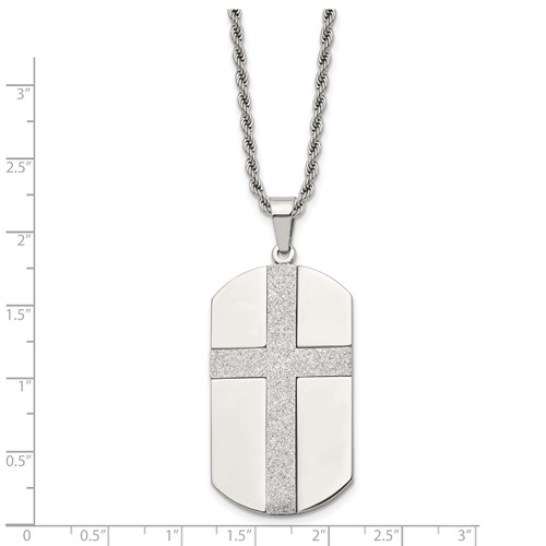 Chisel Stainless Steel Laser Cut Cross Center Dog Tag Pendant 24 inch Necklace