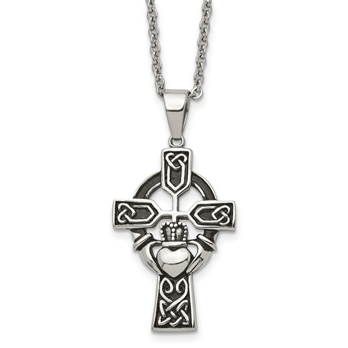 Chisel Stainless Steel Antiqued Claddagh Pendant 20 inch Necklace