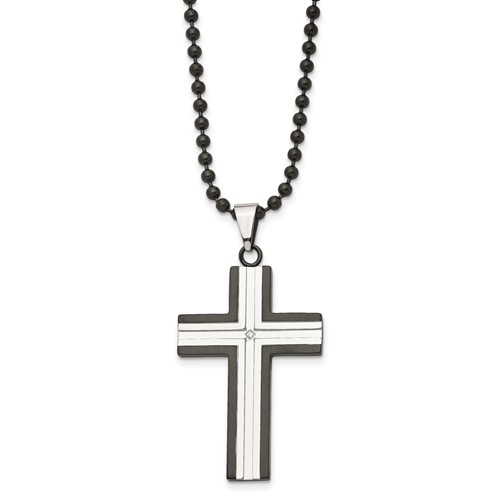 Chisel Stainless Steel Black Plated Cz Cross Pendant 30 Inch Necklace