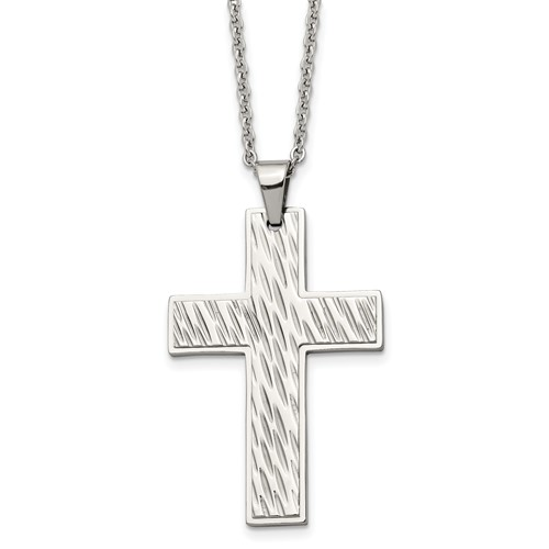 Chisel Stainless Steel Textured Cross Pendant 24 inch Necklace