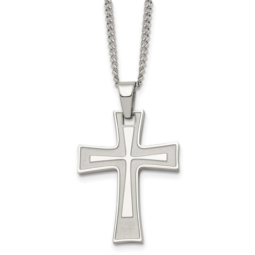 Chisel Stainless Steel Cross Pendant 24 inch Necklace