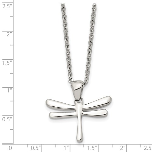 Chisel Stainless Steel Polished Dragonfly Pendant 20 inch Necklace
