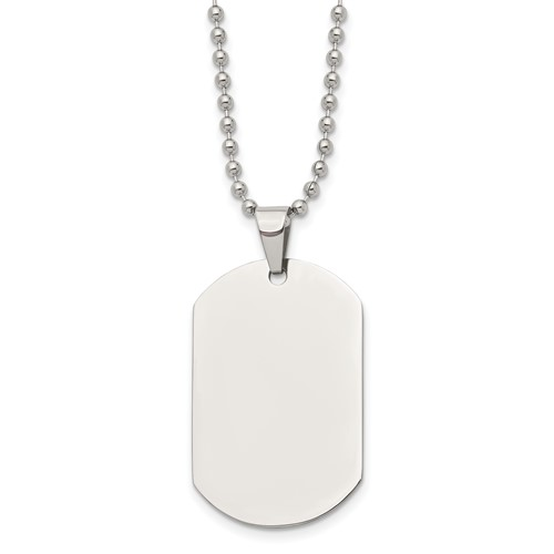 Chisel Stainless Steel Polished Dog Tag Pendant 24 inch Necklace
