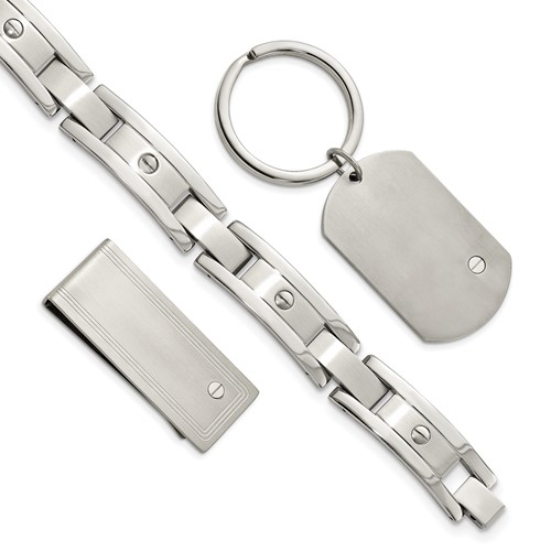Chisel Stainless Steel Brushed Bracelet, Money Clip and Key Chain Set