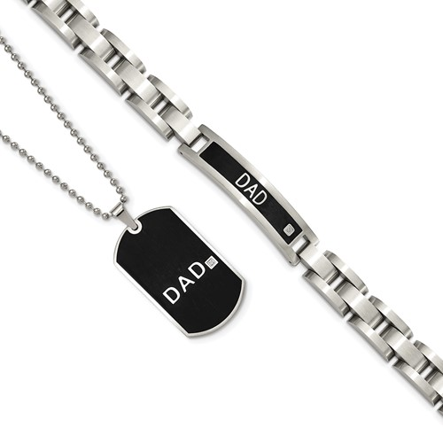 Chisel Stainless Steel Black-plated 8.75 inch Dad Bracelet and 24 inch Dad Necklace Set