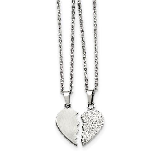 Stainless Steel 1/2 Heart Brushed and 1/2 Heart Crystal Necklace Set