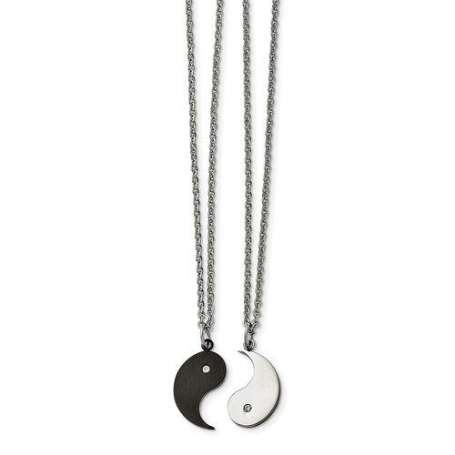Stainless Steel 1/2 Black IP-plated Yin with CZ and 1/2 Yang Necklace Set