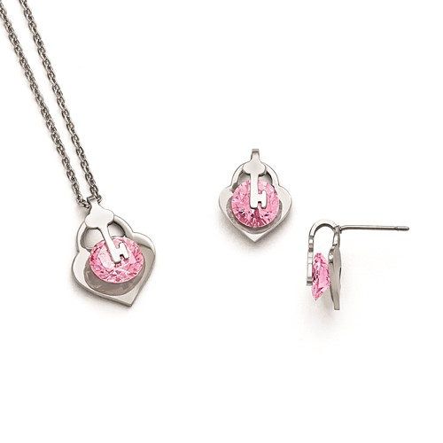 Stainless Steel Polished with Pink CZ Necklace and Earring Set