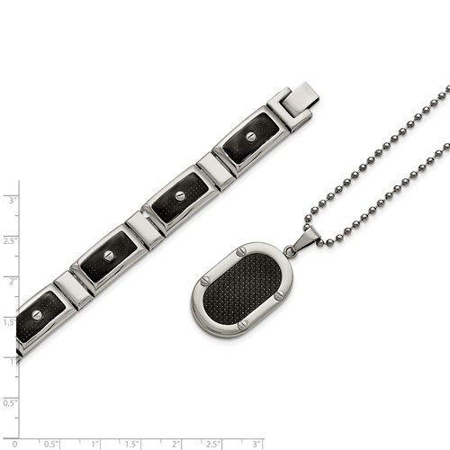Stainless Steel Polished Black Carbon Fiber Inlay Bracelet/Necklace Set