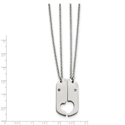 Stainless Steel Polished 2 Half Hearts CZ Necklace Set