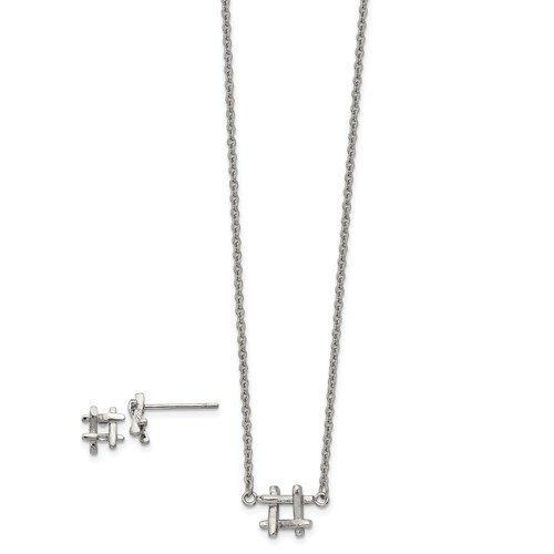 Stainless Steel Polished HashTag 16in with 2in ext. Necklace and Earring Set