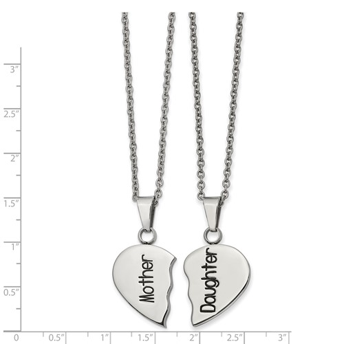 Stainless Steel Polished and Enamel 1/2 Heart Mother/Daughter Necklace Set