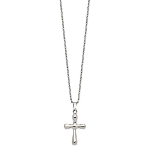Stainless Steel Polished Cross Earring and 18in with 2in ext Necklace Set