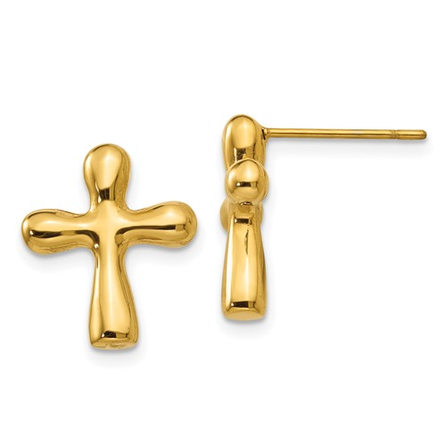Stainless Steel Polished IP Yellow plated Cross Earring and 18in Necklace S
