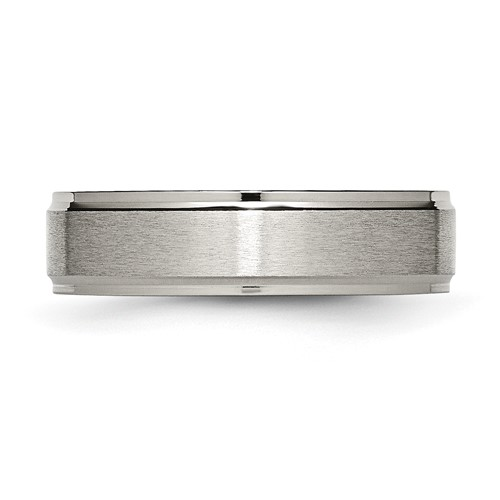 Chisel Titanium Ridged Edge 6mm Brushed and Polished Band