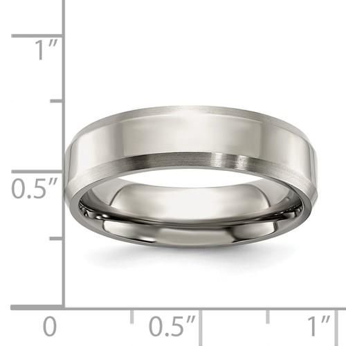 Chisel Titanium Beveled Edge 6mm Brushed and Polished Band
