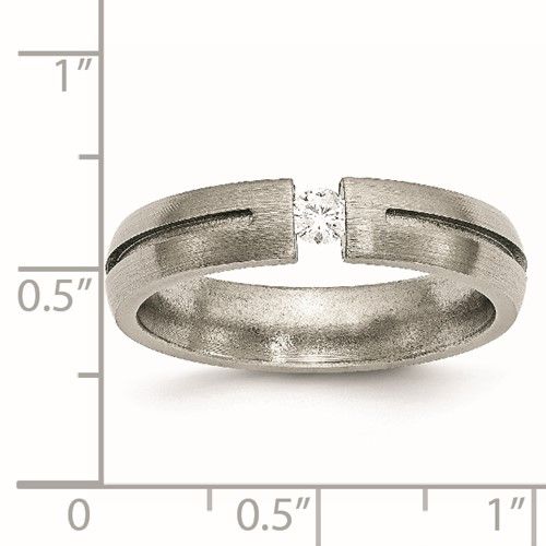 Chisel Titanium 5mm Diamond Brushed Band