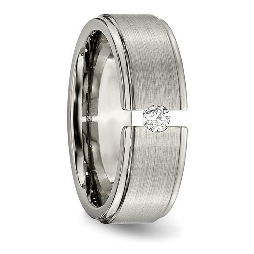 Chisel Titanium 8mm Diamond Brushed and Polished Band