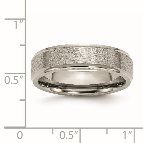 Chisel Titanium Ridged Edge 6mm Satin and Polished Band