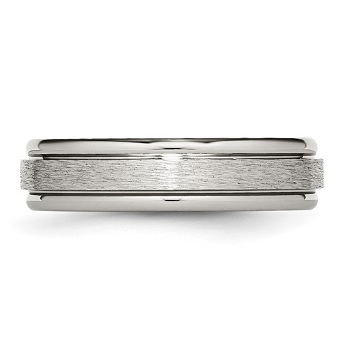Chisel Titanium Grooved Edge 6mm Satin and Polished Band