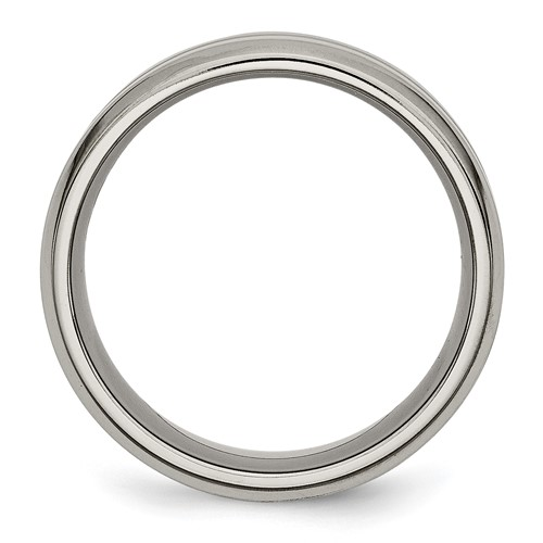 Chisel Titanium Grooved 8mm Brushed and Polished Band