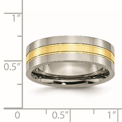 Chisel Titanium 14k Gold Plated 7mm Polished Band