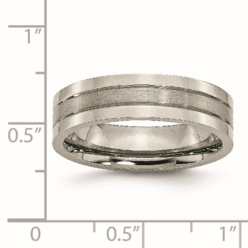 Chisel Titanium Grooved 6mm Brushed and Polished Band