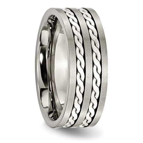 Chisel Titanium Sterling Silver Inlay 8mm Brushed Antiqued Band