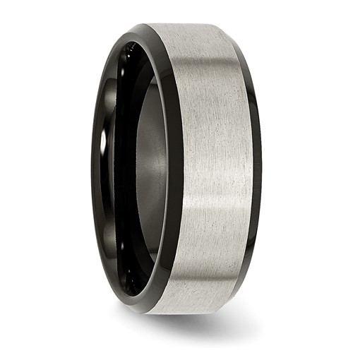 Chisel Titanium Black-plated 8mm Brushed Band