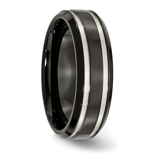 Chisel Titanium Black-plated Grooved 7mm Band