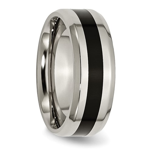 Chisel Titanium Black Enameled 8mm Polished Band