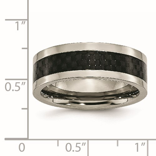 Chisel Titanium 8mm Polished with Carbon Fiber Inlay Band