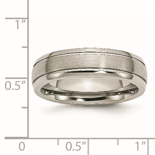 Chisel Titanium Grooved Edge 6mm Brushed and Polished Band