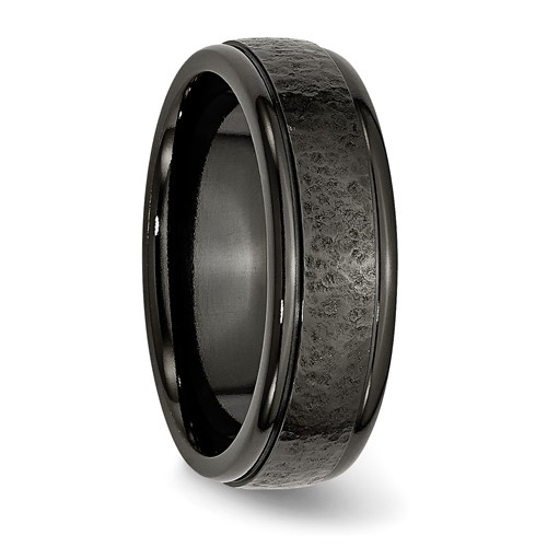 Chisel Titanium Hammered Black 7mm Brushed Band