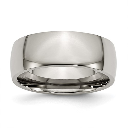 Chisel Titanium 8mm Polished Comfort Fit Wedding Band