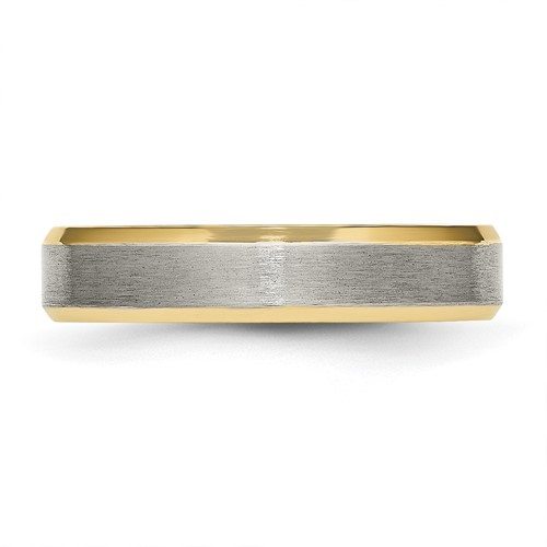 Chisel Titanium 5mm Gold-plated Beveled Edge Brushed Band