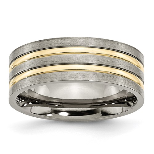 Chisel Titanium Grooved Gold-plated 8mm Brushed and Polished Band