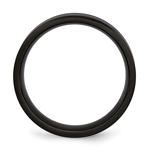 Chisel Black Titanium Grooved 8mm Flat Brushed and Polished Band