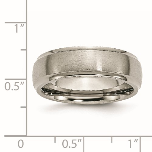 Chisel Titanium Ridged Edge 7mm Brushed and Polished Band