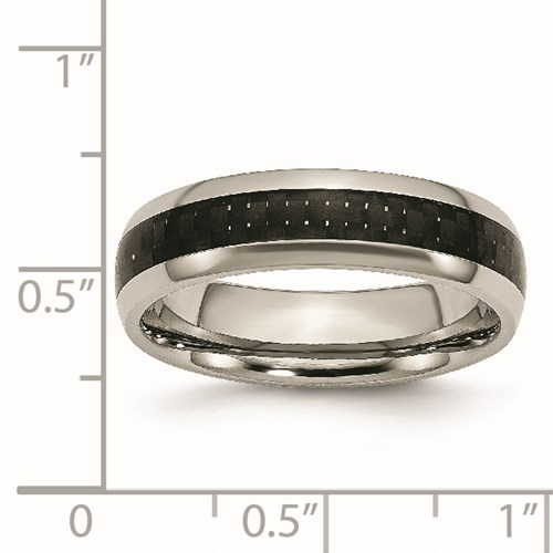 Chisel Titanium Black Carbon Fiber 6mm Polished Band