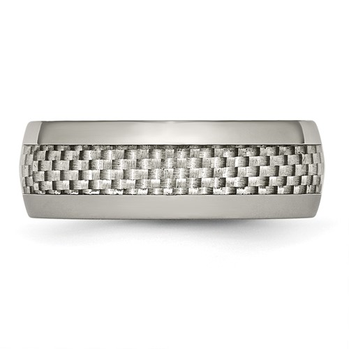 Chisel Titanium and Grey Carbon Fiber 8mm Polished Band