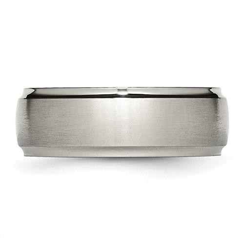 Chisel Titanium Ridged Edge 8mm Brushed and Polished Band