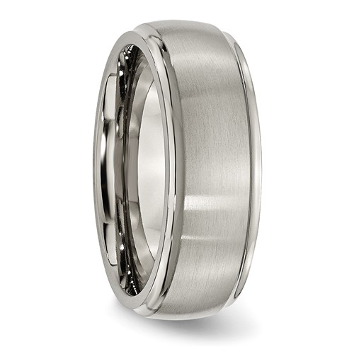 Chisel Titanium Ridged Edge 8mm Brushed and Polished Band