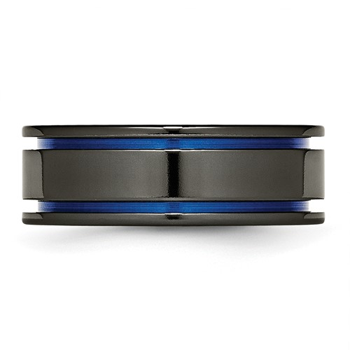 Chisel Titanium Black Ti Blue Anodized Grooves 8mm Polished Band